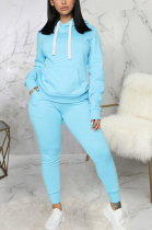 Casual Sporty Simplee Long Sleeve Hoodie Sweat Pants Sets SMR9753