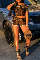 Casual Shorts Casual Short Sleeve Camo Sporty Sets Two-Piece YR8008