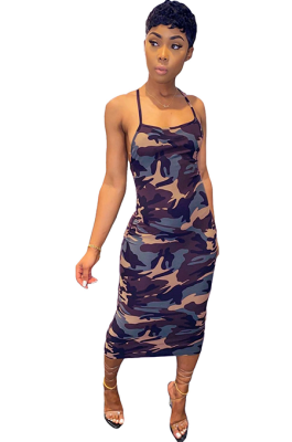 Sexy Polyester Backless Camouflage Slip Dress YFS503