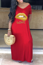 Polyester Printing Mouth Graphic Wide Collar Dress YR8009