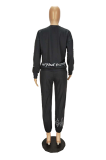 Casual Modest Basics Letter Long Sleeve Round Neck Long Pants Sets MN8325