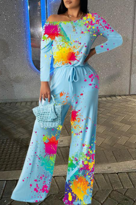 Modest Elegant Tie Dye Long Sleeve Off Shoulder Culottes Jumpsuit HYY8003
