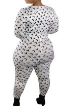 Casual Pop Art Print Long Sleeve Round Neck Unitard Jumpsuit YZ1009