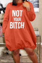 Casual Polyester Pure Color Letter Loose Simplee Dress YR8023