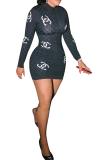 Sexy Polyester Pop Art Print Long Sleeve Mini Dress YZ2285