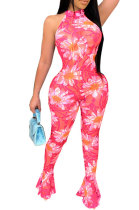 Tight Sexy Perspectivity Polyester Mesh Printing Halterneck Jumpsuits CCY8560