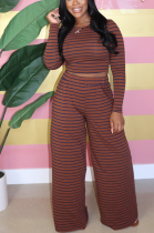 Casual Simplee Striped Long Sleeve Round Neck Wide Leg Pants Sets BLX7541