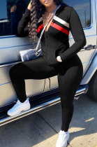 Color Piece Spliced Pocket Sporty Long Sleeve Two-Piece BLX7543