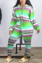 Casual Sporty Striped Long Sleeve Hoodie Long Pants Sets HHM6351