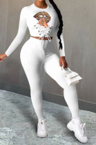 Sexy Polyester Mouth Graphic Long Sleeve Waist Tie Fashion Two-Piece XMY015