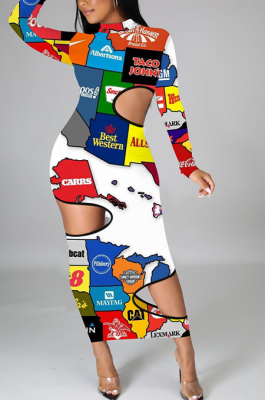 Modest Sexy Cartoon Graphic Long Sleeve Hollow Out Long Dress Without Facemask OMM1179