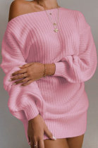 Casual Long Sleeve Lantern Sleeve Off Shoulder Knitting Wool Dress MGN1998