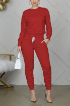 Casual Round Neck Waist Tie Tee Top Long Pants Sets No Bag WY6712