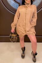 Casual Long Sleeve High Neck Mid Waist Cape Dress SM9121