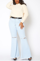 Casual Modest Large Size Elastic Waist Ripped Flare Leg Jeans SMR2343