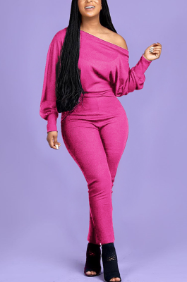 Casual Sexy Pure Color Long Sleeve Off Shoulder Casual Jumpsuit OMY8083-2