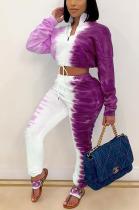 Casual Simplee Tie Dye Long Sleeve Lapel Neck Long Pants Sets MTY6393