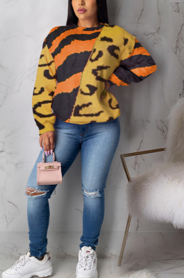 Casual Cute Leopard Long Sleeve Round Neck Spliced Blouse ML7387