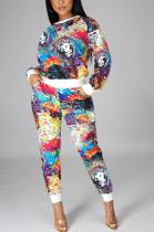 Casual Sporty Pop Art Print Long Sleeve Round Neck Long Pants Sets KZ191