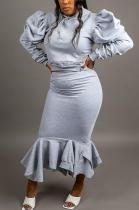 Casual Modest Round Neck Flounce Puff Sleeve Bodycon Skirt Sets KZ183