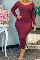 Pure Color Rib Sexy Fashion Womenswear Open Fork Button Dress QY5019