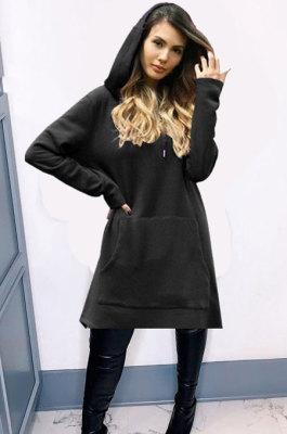 Big Size Womenswear Loose Pure Color Long Sleeve Hooded Fleece QY5022