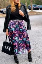 Casual Elegant Polyester Letter Half Length Long Skirt X9230