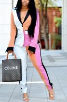 Modest Basics Long Sleeve Deep V Neck Spliced Long Pants Sets YX9250