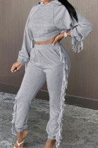 Tassel Casual Sets Pure Color Long Sleeve Two-Piece YYZ937