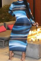 Tie Dye Stripe Great Pendulum Long Sleeve Long DressR6353