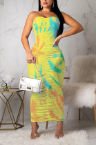 Sexy Polyester Sleeveless Strapless Ruffle Long Dress LL6245