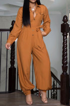 Pure Color Loose Sexy Jumpsuit Woven Fabric Casual Jumpsuit R6362