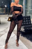 Modest Sexy Chiffon Long Sleeve Off Shoulder Mesh Crop Top Long Pants Sets MA6631