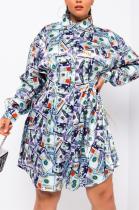 Casual Sexy Pop Art Print Long Sleeve Spliced Shirt Dress HMM6357