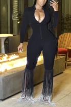 Sexy Polyester Long Sleeve Deep V Neck Tassel Hem Bodycon Jumpsuit ML7391