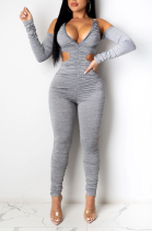 Sexy Polyester Long Sleeve Off Shoulder Shirred Detail Capris Pants Sets W8337