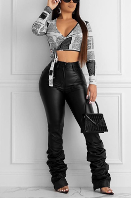 Casual Polyester Pu Leather Slant Pocket Mid Waist Long Pants LD8619