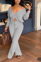 Sexy Long Sleeve Off Shoulder Hollow Out Long Pants Sets E8520