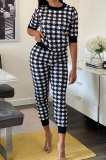Short Sleeve Long Pants Sets Printing Casual Sporty Plaid Two-Piece MY9707