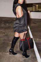 Sexy Long Sleeve Off Shoulder Spliced Mini Dress LS6396