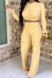 Pure Color Long Sleeve Shirred Detail Flare Leg Pants Two-Piece MY9706