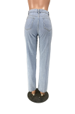 Casual Polyester Mid Waist Straight Leg Broken Hole Pants W8336
