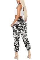 Fashion Casual Polyester Camo Drawstring Waist Cargo Pants LD8247