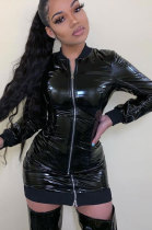 Fashion Mirror Surface All Play Leather Skirt Long Sleeve Zipper DressML7398