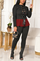 Casual Long Sleeve Round Neck Flounce Spliced Tee Top Long Pants Sets YY5229