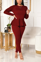 Casual Long Sleeve Round Neck Flounce Tee Top Long Pants Sets YY5228