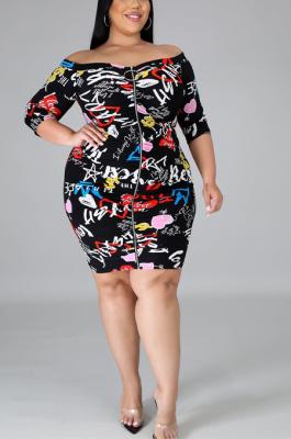 Blazer Sexy Cartoon Graphic Half Sleeve Notched Neck Midi Dress CCY1334