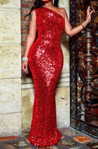 Sexy Red Fashion Sequins Non-Hollowing Evening Dress Long Dress Q718