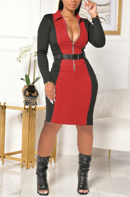 Casual Long Sleeve Zippers V Neck Spliced Drawstring Waist A Line Dress YY5227