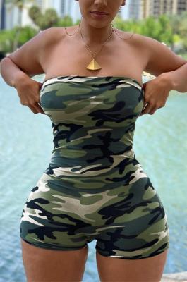 Boho Sexy Camo Off Shoulder Tube Jumpsuit MOM5050